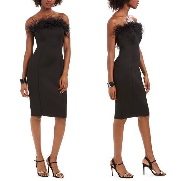 [Eliza J] Feather-Trim Sheath Dress